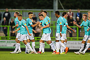 Forest Green Rovers Dayle Grubb(8) scores a goal 1-0 and celebrates during the EFL Trophy match between Forest Green Rovers and Cheltenham Town at the New Lawn, Forest Green, United Kingdom on 4 September 2018.