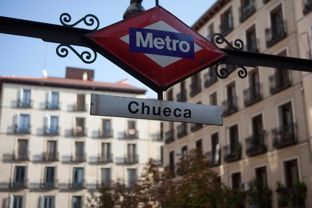 Chueca metro station at Plaza Chueca in Madrid, Spain.