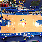 A panoramic image showing the Basketball at Sydney Olympic Park as Australia take on Brazil in the Women's tournament during the 2000 Sydney Olympic Games...Panoramic images from the Sydney Olympic Games, Sydney, Australia.  2000 . Photo Tim Clayton