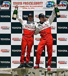 LONG BEACH, Calif., April 16, 2011 -- Japanese professional driver and drifter Ken Gushi and actor William Fichtner celebrate their victories with a classic champagne shower at the Toyota Pro/Celebrity Race 2011 during the 37th Long Beach Grand Prix. Long Beach, CA. Photo: Eduardo E. Silva