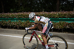 Laura Lozano Ramirez checks the damage of her attack at Tour of Chongming Island - Stage 3. A 111.6km road race on Chongming Island, China on 7th May 2017.