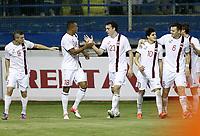Fotball<br /> VM-kvalifisering<br /> 16.10.2012<br /> Kypros v Norge 1:3<br /> Foto: Savvides/Digitalsport<br /> NORWAY ONLY<br /> <br /> Norge feirer scoring<br /> L-R: Valon Berisha - Joshua King - Vegard Forren - Tarik Elyounoussi - John Arne Riise