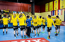 Players of Gorenje after the handball match between RK Gorenje Velenje and SG Flensburg-Handewitt (GER) in 10th Round of EHF Champions League 2013/14 on February 22, 2014 in Rdeca dvorana, Velenje, Slovenia. Photo by Vid Ponikvar / Sportida