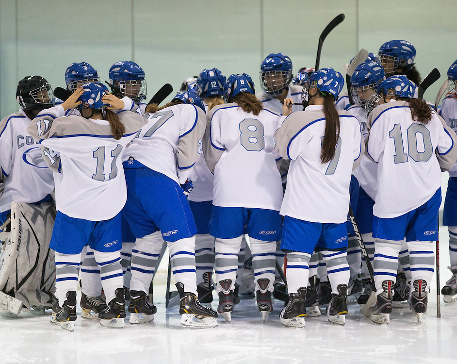 The Colby College women's hockey team before the start of an NCAA Division III college hockey game against Plymouth State University at Alfond Rink at Alfond Arena, Tuesday Dec. 4, 2012 in Waterville, ME. (Dustin Satloff/Colby College Athletics)