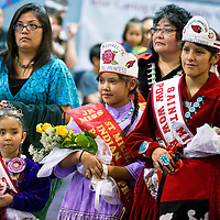 11031313    Brian Leddy<br /> Powwow Princess Kayola Denny (from right),  Junior  Powwow Princess Jaelyn DeChilly and Tiny Miss Powwow Princess Klarencita Tsosie dance around the circle during  Friday night powwow in Ft. Defiance. The three were recently crowned and will represent St. Michael's Indian School.