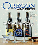 Oregon Wine Press December Cover featuring Argyle Sparkling Wine, special artist labels with sabering knife.