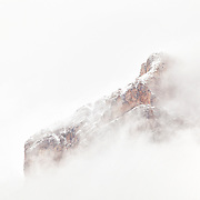 Dolomites mountain top with mist, val de Fane
