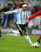 Argentina's Carlos Tevez in action during the international friendly match between Spain and Argentina in Madrid, Spain on November 14 2009.