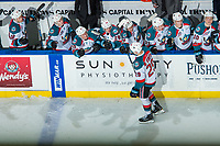 KELOWNA, CANADA - DECEMBER 30: Nolan Foote #29 of the Kelowna Rockets skates past the bench to celebrate a shoot out goal against the Victoria Royals on December 30, 2017 at Prospera Place in Kelowna, British Columbia, Canada.  (Photo by Marissa Baecker/Shoot the Breeze)  *** Local Caption ***