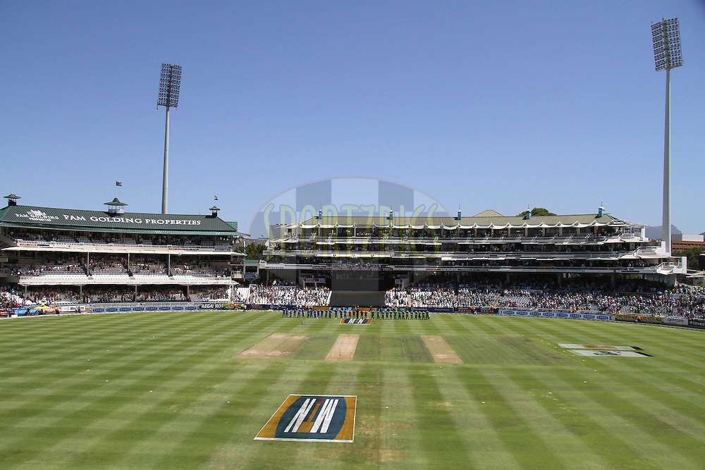 The Teams sing the anthems during the 3nd ODI between South Africa and India held at Sahara Park Newlands Stadium in Cape Town, Western Cape, South Africa on the 18th January 2011..Photo by Shaun Roy/BCCI/Sportzpics
