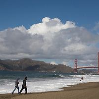 A view of Golden Gate Bridge from Baker Beach in San Francisco.  Mandatory Credit: Dinno Kovic / Dinno Kovic Photography