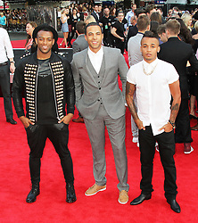 © Licensed to London News Pictures. 20/08/2013, UK. Oritse Williams; Marvin Humes; Aston Merrygold; JLS,   One Direction: This Is Us - World film premiere, Leicester Square, London UK, 20 August 2013<br />  Photo credit : Richard Goldschmidt/Piqtured/LNP