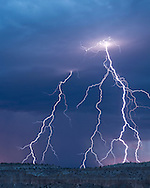 Multiple stroke cloud-to-ground lightning over Otowi Mesa in the Pajarito Plateau, © 2014 David A. Ponton