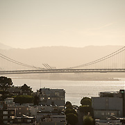 Silhouette of the San Francisco-Oakland Bay Bridge (known locally as the Bay Bridge) that connects San Francisco with Oakland across San Francisco Bay.
