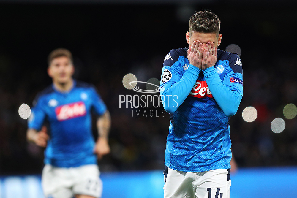 Dries Mertens celebrates after scoring 4-0 goal by penalty during the UEFA Champions League, Group E football match between SSC Napoli and KRC Genk on December 10, 2019 at Stadio San Paolo in Naples, Italy - Photo Federico Proietti / ProSportsImages / DPPI