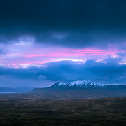 Wee flash of magenta over Leum Uilleim as the day approached blue hour, Corrour