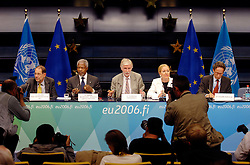 BRUSSELS, BELGIUM - AUGUST-25-2006 - From left to right: European Union foreign policy chief Javier Solana , Kofi Annan U.N. Secretary General, Erkki Tuomioja , Foreign Affairs Minister of Finland and current President of the European Council of Foreign Ministers, and Benita Ferrero-Waldner European Commissioner of External Relations, take part in a press conference following an extraordinary meeting of European foreign ministers and the United Nations to discuss European military deployment to Lebanon as part of the cease-fire agreement between Israel and Hezbollah, at the European Council headquarters in Brussels. (PHOTO © JOCK FISTICK)