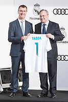 President of Real Madrid CF, Florentino Perez poses for a photograph after being presented with a new Audi car as part of an ongoing sponsorship deal with Real Madrid at their Ciudad Deportivo training grounds in Madrid, Spain. November 23, 2017. (ALTERPHOTOS/Borja B.Hojas)