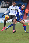 Bury Midfielder, Kelvin Etuhu in action on the ball during the Sky Bet League 1 match between Oldham Athletic and Bury at Boundary Park, Oldham, England on 23 January 2016. Photo by Mark Pollitt.