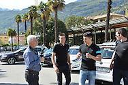 40a Edizione del Giro del Trentino Melinda conferenza Stampa degli Atleti, a sinistra il Fotografo Remo Mosna e Gianni Moscon, Arco 18 Aprile 2016 © foto Daniele Mosna