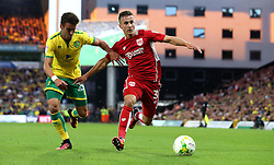 Joe Bryan of Bristol City goes past Ivo Pinto of Norwich City - Mandatory by-line: Robbie Stephenson/JMP - 16/08/2016 - FOOTBALL - Carrow Road - Norwich, England - Norwich City v Bristol City - Sky Bet Championship
