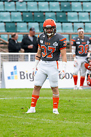 KELOWNA, BC - SEPTEMBER 22:  Brody Mcpherson #37 of Okanagan Sun lines up against the Valley Huskers at the Apple Bowl on September 22, 2019 in Kelowna, Canada. (Photo by Marissa Baecker/Shoot the Breeze)