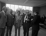 New Bottling plant for D.E.Williams..1975..19.06.1975..06.19.1975..19th June 1975..The Minister for Justice, Mr Patrick Cooney TD, officially opened the new one and a half million gallon per annum soft drink facility at Tullamore,Co Offaly. The new plant represents an investment of over a quarter million pounds by the Williams Group. It is hoped that this investment will create further employment for the area...Pictured having the cup that cheers the Minister Mr Patrick Cooney chats with Mr Edmund Williams, Mr V E Williams, Mr Mr W J Ralph and Mr M J Murphy all of the Williams Group.