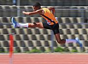 CAPE TOWN, SOUTH AFRICA - Saturday 27 February 2016, Elgar Theunis in the mens 400m hurdles during the Western Province Athletics League Track and Field athletic meeting at the Parow Athletics Stadium. <br /> Photo by Roger Sedres/ImageSA