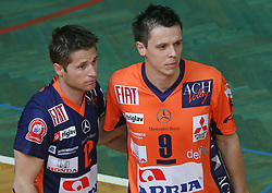 Sebastijan Skorc and Matija Plesko of ACH Volley at 4th and final match of Slovenian Voleyball  Championship  between OK Salonit Anhovo (Kanal) and ACH Volley (from Bled), on April 23, 2008, in Kanal, Slovenia. The match was won by ACH Volley (3:1) and it became Slovenian Championship Winner. (Photo by Vid Ponikvar / Sportal Images)/ Sportida)