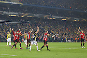 Manchester United players appeal a penalty during the Europa League match between Fenerbahce and Manchester United at the Ulker Stadium, Kadikoy, Turkey on 3 November 2016. Photo by Phil Duncan.