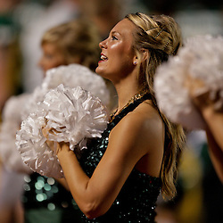 10 September 2009:  Southeastern Louisiana Lions cheerleader performs on the sideline during a game between Southeastern Louisiana University Lions and Union College at Strawberry Stadium in Hammond, Louisiana.