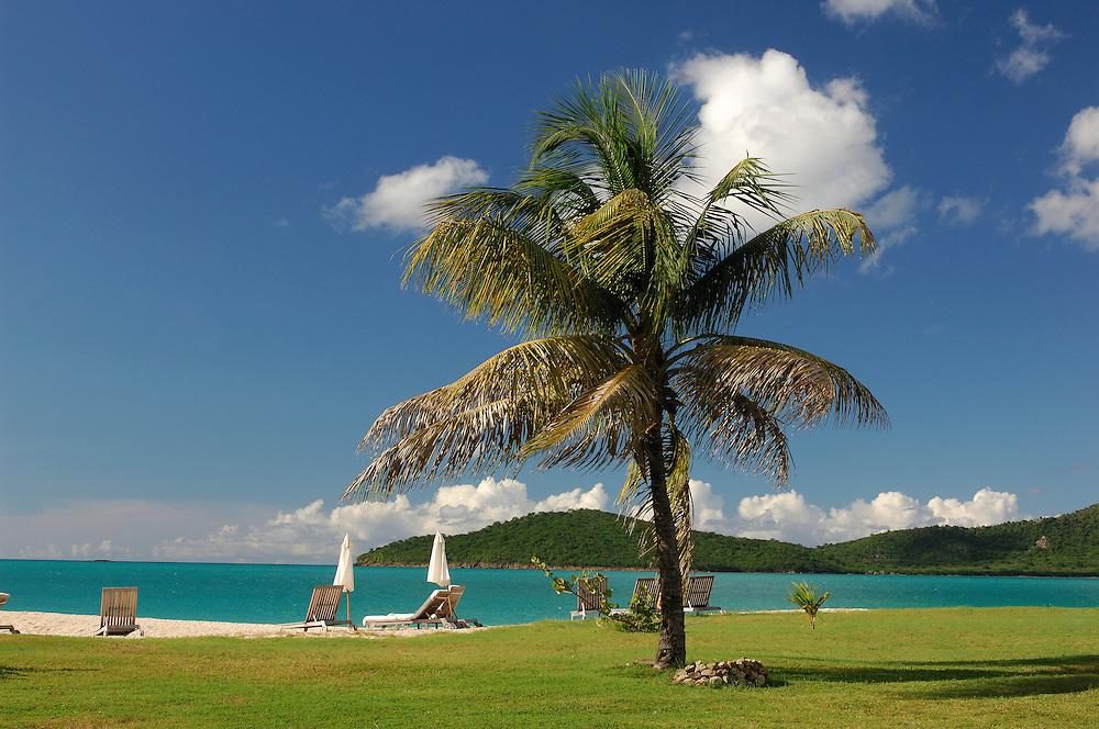 Bay and Beach at Hermitage Bay Resort, Antigua, Caribbean Island.