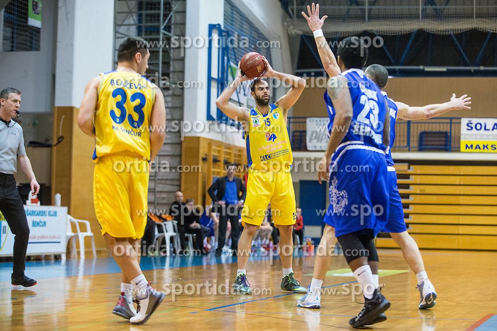 Miljkovic Milos of KK Sencur GGD during basketball match between KK Sencur  GGD and KK Tajfun Sentjur for Spar cup 2016, on 16th of February , 2016 in Sencur, Sencur Sports hall, Slovenia. Photo by Grega Valancic / Sportida.com