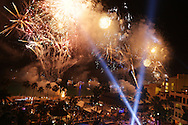 New Year's Eve party Gatsby Style at Passion Club Cabo, inside the ME Cabo Hotel in Cabo San Lucas, Mexico. Fireworks for New Year celebrations in Cabo San Lucas