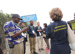 August 8, 2017 - Nairobi, KENYA, Kenya - Election observers from the European Union at  polling station at St Monica in Kitengela  Kajiado county on August 8, 2017 , Kenya. Kenyans head to the polls for a closely contested election between incumbent president Uhuru Kenyatta and his rival Raila Odinga. Photo Tabitha Otwori (Credit Image: © Tom Maruko/Pacific Press via ZUMA Wire)