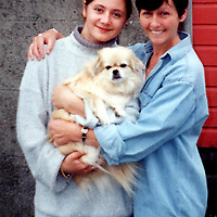 Death by dangerous driving story...8.11.99.<br />22.12.98... Collect picture of crash victim, 20 year old Kirsty Mackintosh with her mum Jan and the family pet, Sasha.<br />(This picture was taken last year when Kirsty was 19.).<br />(Please see Gordon Currie/Premier News  Story).<br /><br />Picture Copyright: <br />John Lindsay/PerthshirePictureAgency <br />Tel. 01738 623350. mobile 07775 852112