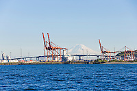 The Port of Seattle with Mt Rainier in the background, Seattle, WA USA