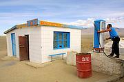GOBI DESERT, MONGOLIA..08/26/2001.Bayangovi. Tank post..(Photo by Heimo Aga).