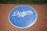 4 May 2011: The Dodgers batting circle with logo on the field before a Major League Baseball game at Dodger Stadium in Los Angeles, California.  **Editorial Use Only**