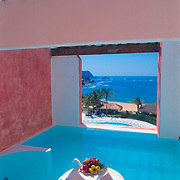 Detail of balcony with private pool at Zaashila hotel in .Huatulco, Oaxaca..Mexico