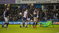 Football - 2018 / 2019 Emirates FA Cup - Fourth Round: Millwall vs. Everton<br /> <br /> The ball comes to the chest of Jake Cooper (Millwall FC) who forces it home for a Millwall equaliser at The Den.<br /> <br /> COLORSPORT/DANIEL BEARHAM