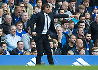 Football - 2016/2017 Premier League - Chelsea V Leicester.<br /> <br /> Chelsea Manager Antonio Conte points the way at Stamford Bridge.<br /> <br /> COLORSPORT/DANIEL BEARHAM
