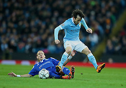 MANCHESTER, ENGLAND - Tuesday, March 15, 2016: Manchester City's David Silva in action against FC Dynamo Kyiv's Domagoj Vida during the UEFA Champions League Round of 16 2nd Leg match at the City of Manchester Stadium. (Pic by David Rawcliffe/Propaganda)