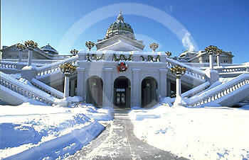 PA Capitol West Addition, Snow, Harrisburg, Pennsylvania