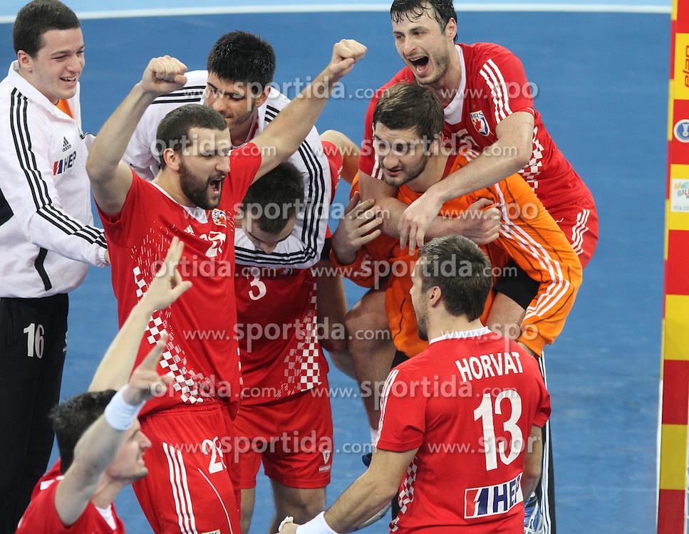 25.01.2013 Barcelona, Spain. IHF men's world championship, 3º/4º place. Picture show Croatian tema after win game between Slovenia vs Croatia at Palau St. Jordi