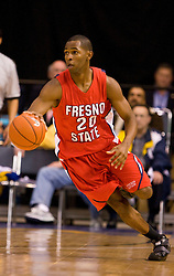 February 27, 2010; San Jose, CA, USA;  Fresno State Bulldogs guard/forward Garrett Johnson (20) during the second half against the San Jose State Spartans at The Event Center.  San Jose State defeated Fresno State 72-45.