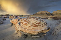 "Approaching storm at the ""Egg Factory"" sandstone formations, Bisti Badlands, Bisti/De-Na-Zin Wilderness, New Mexico"