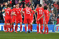 Football - 2018 / 2019 Euro Championship 2020 qualifying round. Wales v SLOVAKIA <br /> <br /> wales celebrate victory<br /> at Cardiff City Stadium<br /> <br /> COLORSPORT/WINSTON BYNORTH