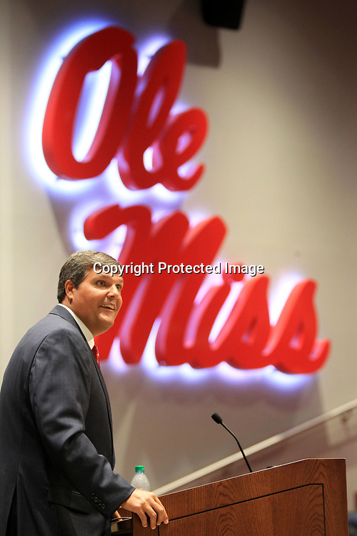 Matt Luke, Ole Miss Interim Head Football Coach, takes questions from the media at The Manning Center on the Univdrsity of Mississippi on Monday afternoon in Oxford.