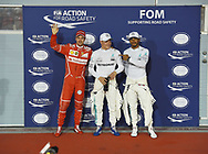 Valtteri Bottas of Mercedes AMG Petronas, with team mate Lewis Hamilton and Sebastian Vettel of Scuderia Ferrari, after winning his maiden pole position during the Bahrain Formula One Grand Prix Qualifying session at the International Circuit, Sakhir<br /> Picture by EXPA Pictures/Focus Images Ltd 07814482222<br /> 15/04/2017<br /> *** UK &amp; IRELAND ONLY ***<br /> <br /> EXPA-EIB-170415-0331.jpg